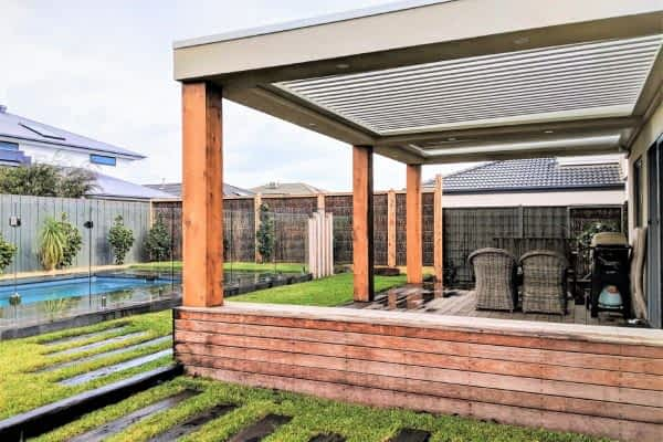 Ultimate Louvre Verandah with timber frame and deck - Melbourne