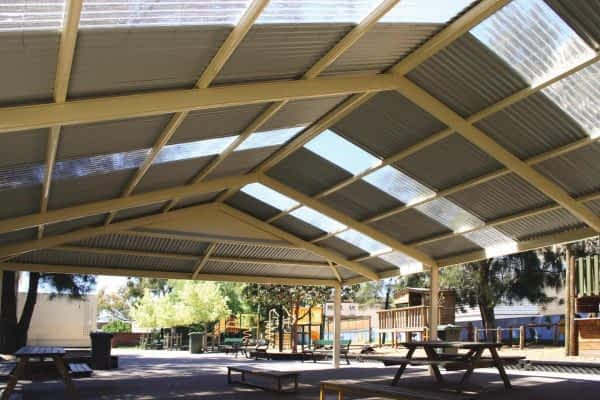 Gable Verandah providing open span with conventional double sided colour roofing & frame.